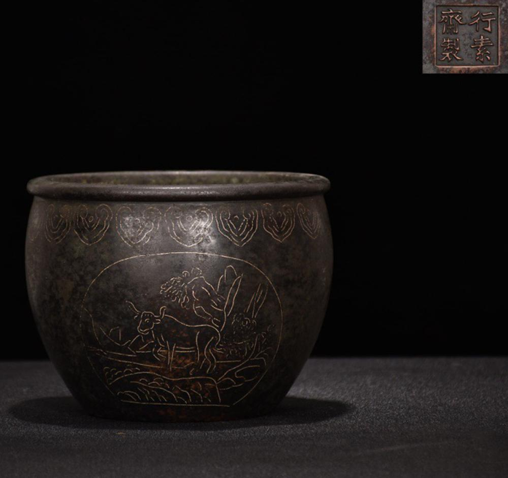 A BRONZE WITH SILVER & PARTIAL GILT BRONZE PATTERN JAR WITH MARK