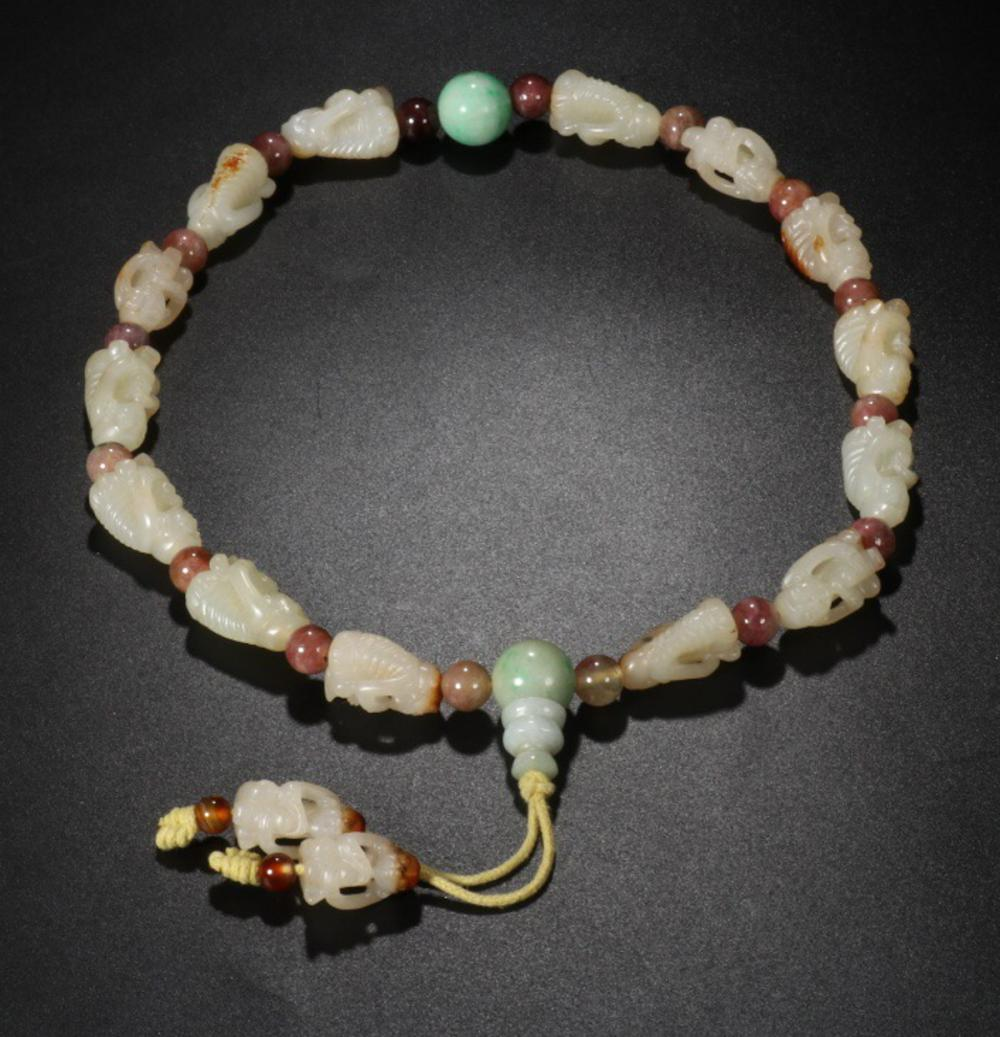 A HETIAN JADE MONKEY-SHAPED HOLLOW OUT CARVED EIGHTEEN BEADS ROSARY