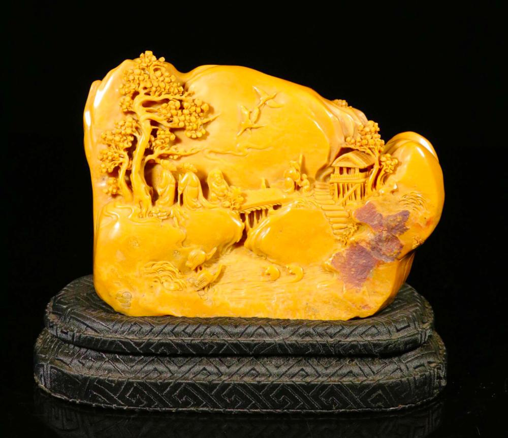 A TIANHUANG STONE CARVEING LANDSCAPE PATTERN ORNAMENT