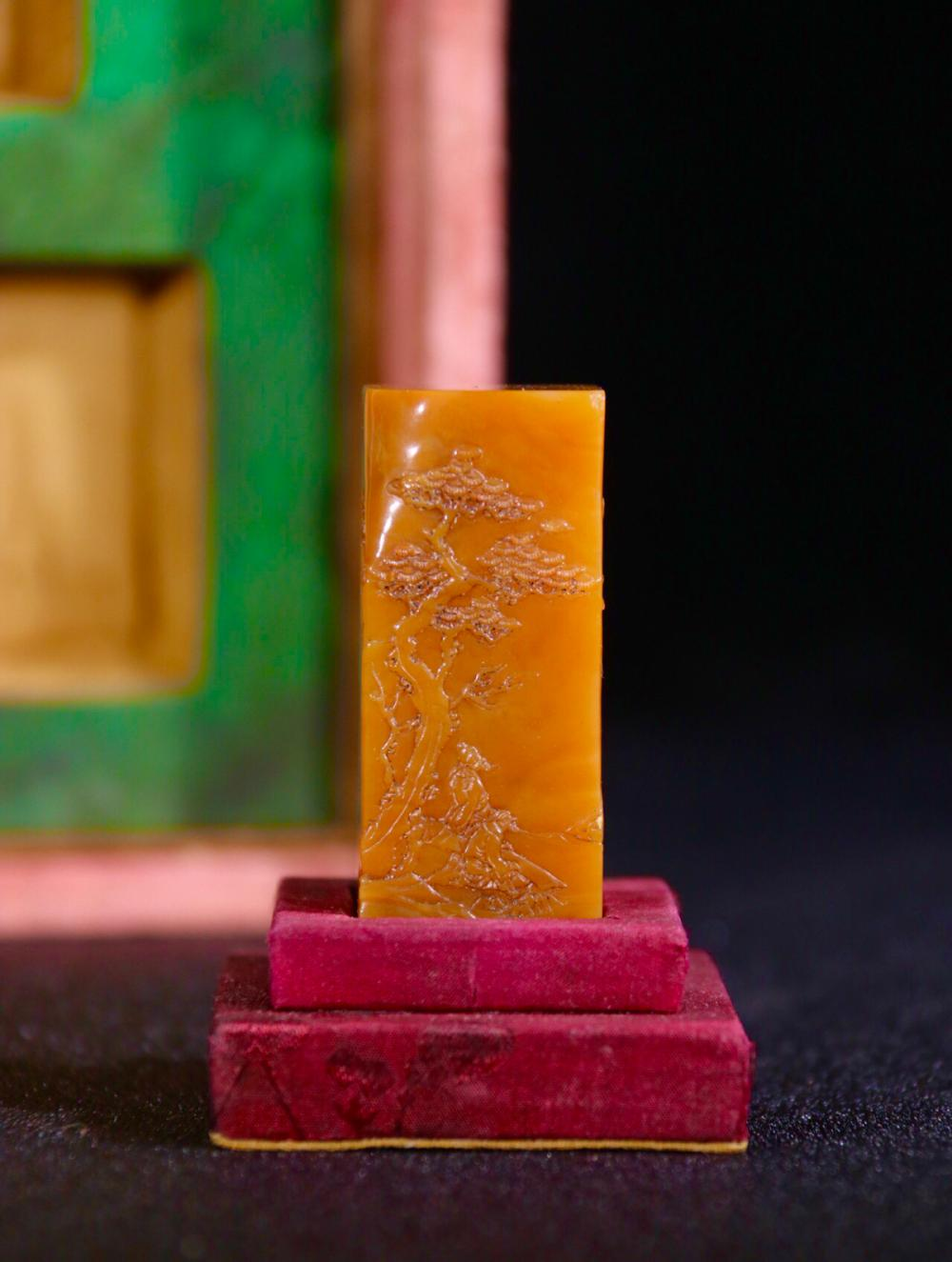 A TIANHUANG STONE SEAL OF LANDSCAPE PATTERN