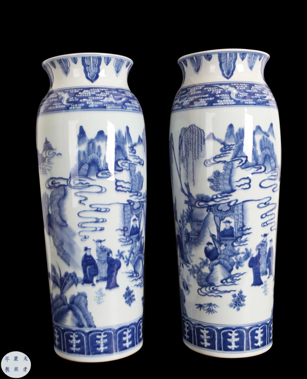 A PAIR OF BLUE & WHITE PORCELAIN VASES IN CHARACTER STORY DESIGN