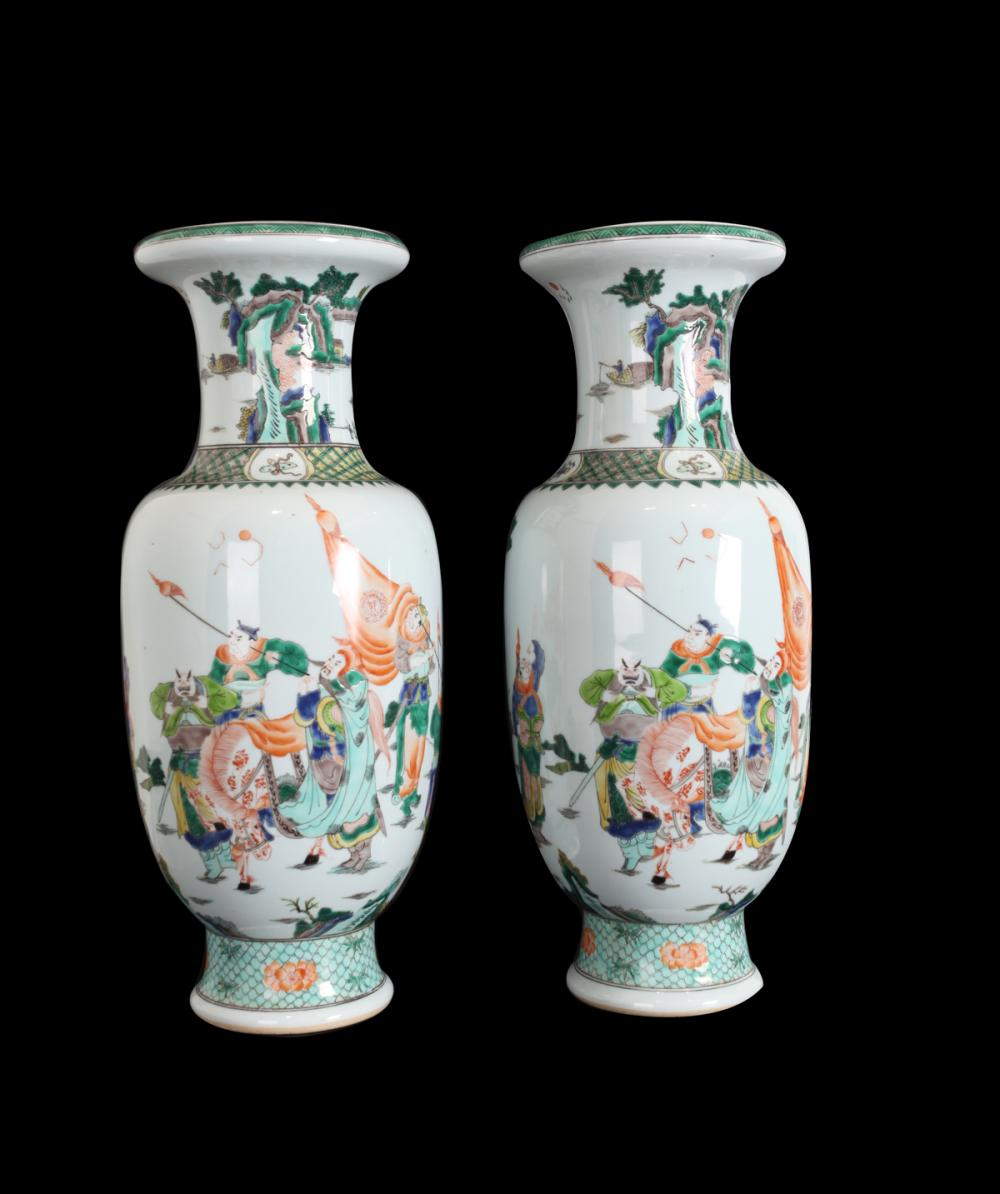 A PAIR OF THREE-GLAZED VASES IN GUANYIN BUDDHA DESIGN