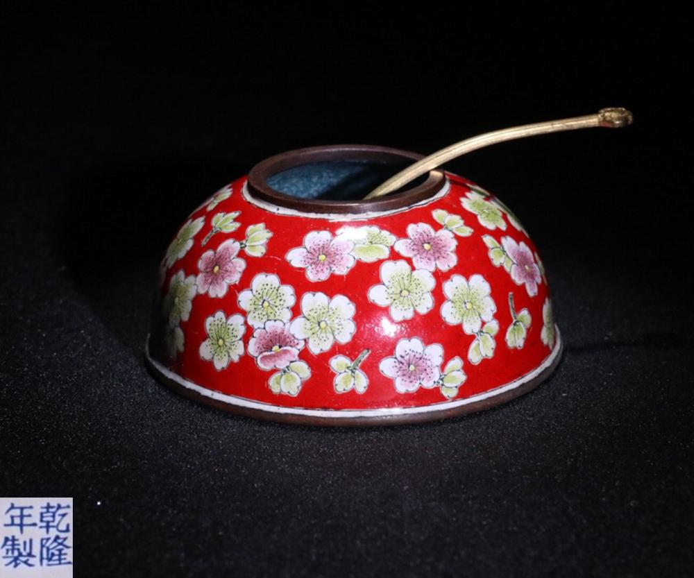 A QIANLONG MARK CLOISONNE WASHER WITH FLORAL PATTERN