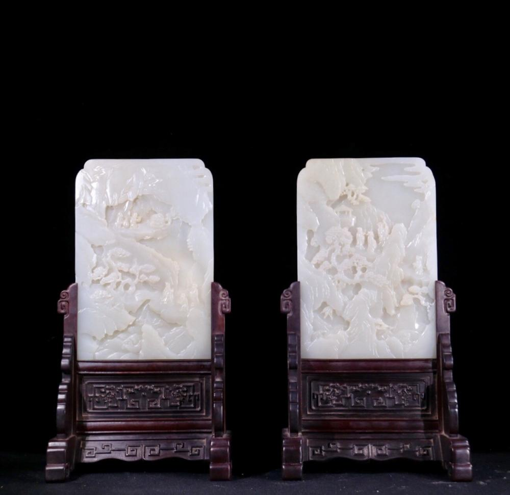 A PAIR OF HETIAN JADE CENSERS WITH LANDSCAPE PATTERN