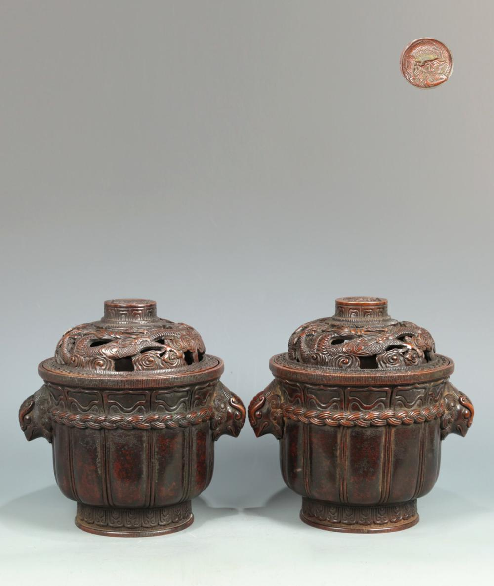 A PAIR OF BRONZE CENSERS