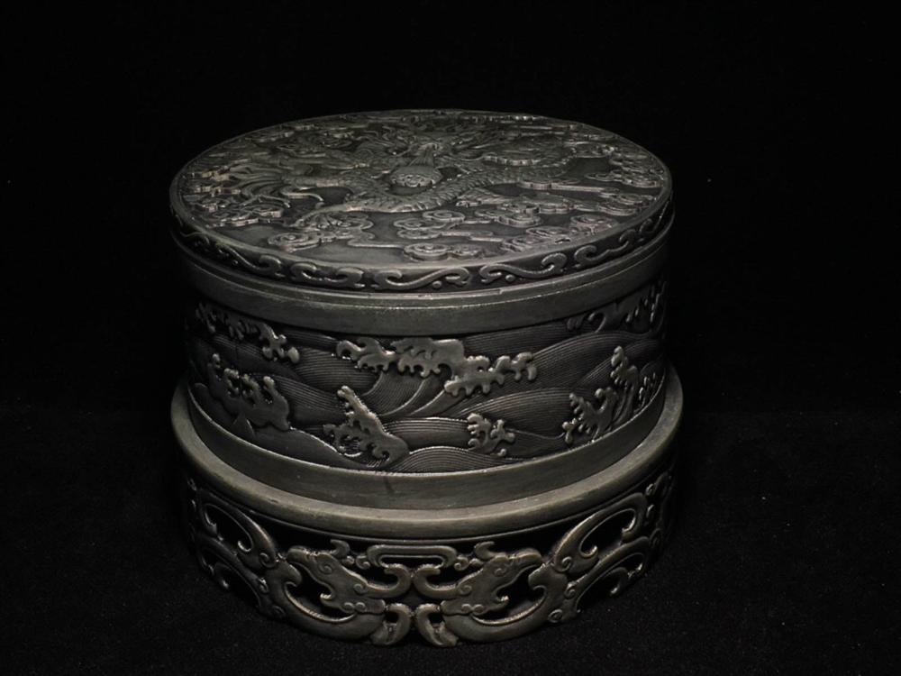 A SET OF  DUAN STONE DRAGON PATTERN CARVED  INK SLAB