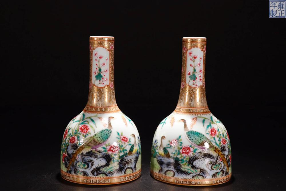A   YONGZHENG MARK AUSPICIOUS FLOWERS PAINTED FAMILLE ROSE VASE