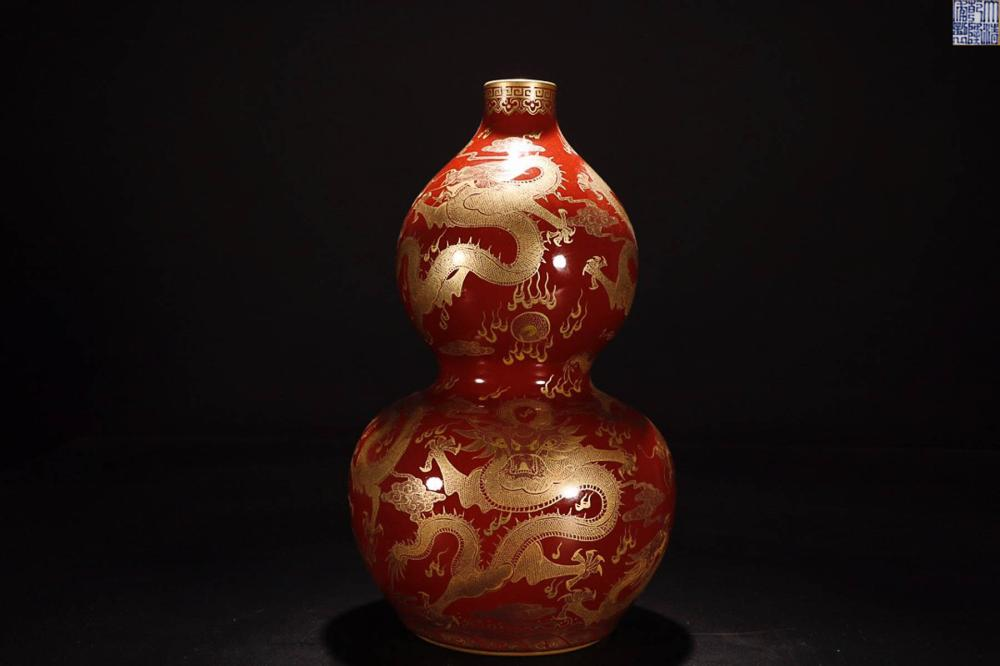A QIANLONG MARK IRON RED GLAZE VASE