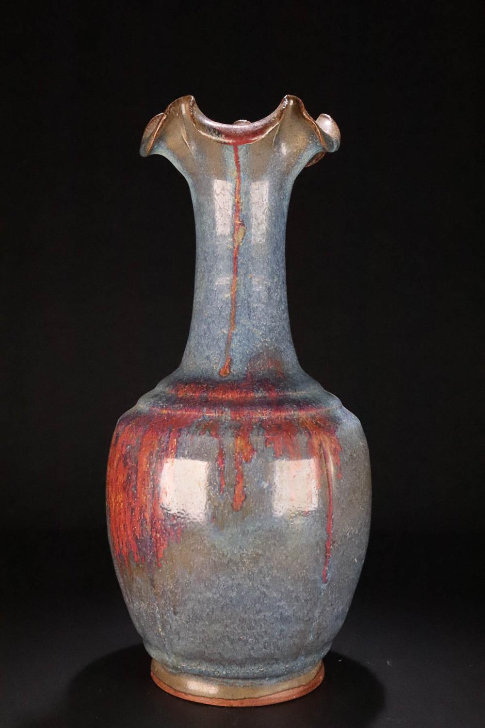 9-12TH CENTURY, A FLORAL MOUTH DESIGN JUN KILN SKY BLUE GLAZE VASE, SONG DYNASTY