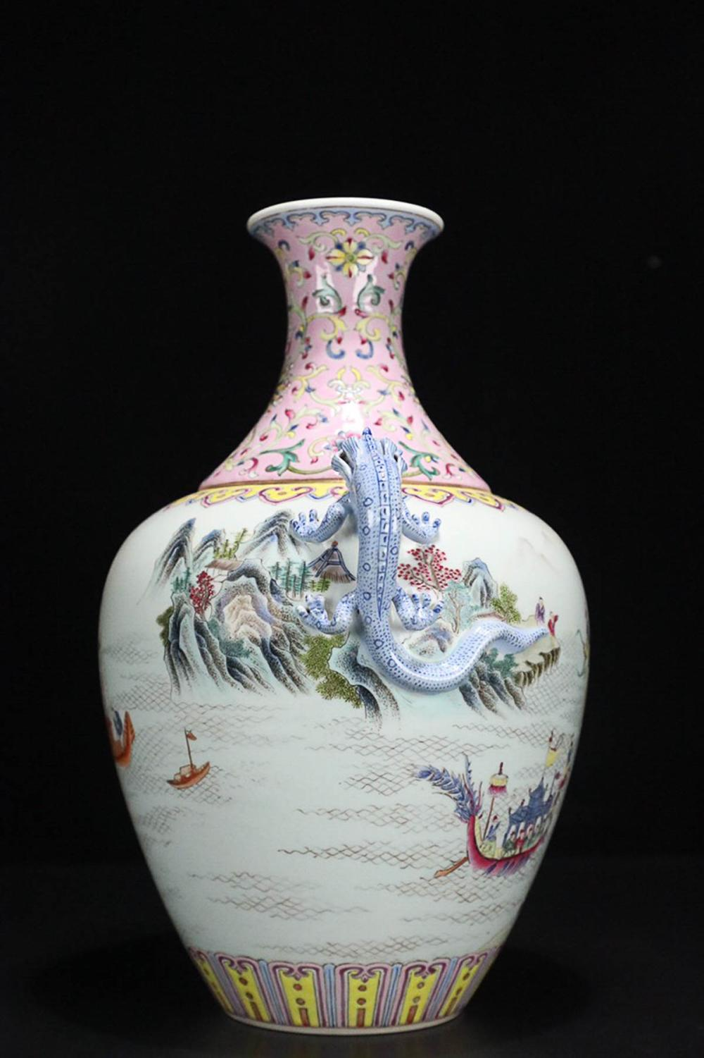 17-19TH CENTURY, A STORY DESIGN DOUBLE-EAR ENAMEL VASE, QING DYNASTY