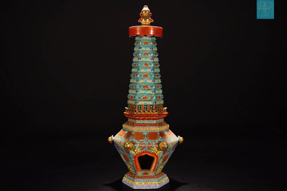 A QIANLONG MARK ENAMELED PAGODA