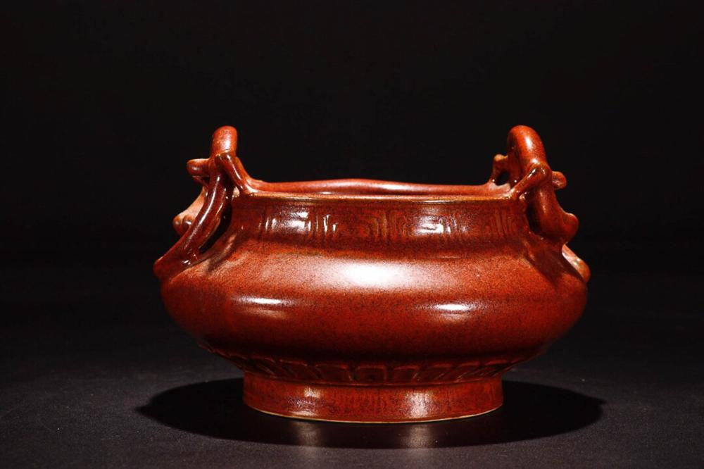 A ZIJIN GLAZE DOUBLE EAR CENSER