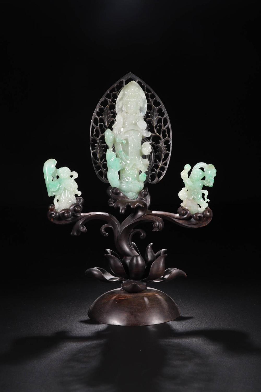 A SET OF 3 PIECES JADEITE GUANGYIN STORY ORNAMENT