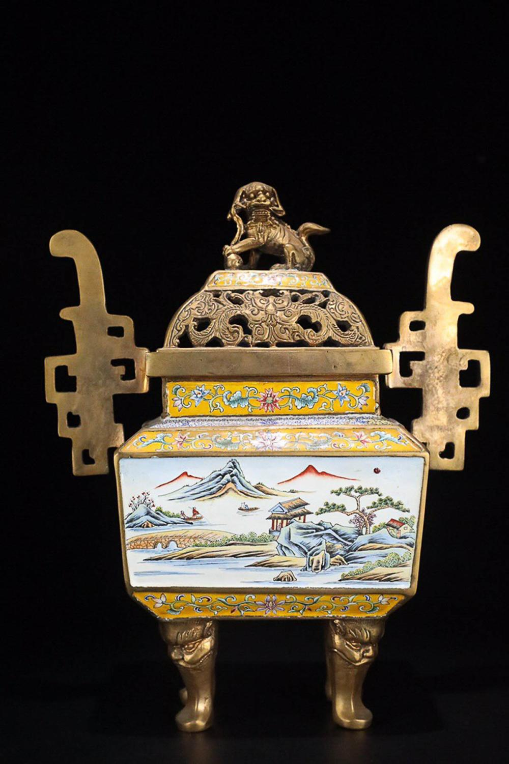17-19TH CENTURY, A STORY DESIGN GILT BRONZE ENAMEL FOUR FOOT FURNACE, QING DYNASTY