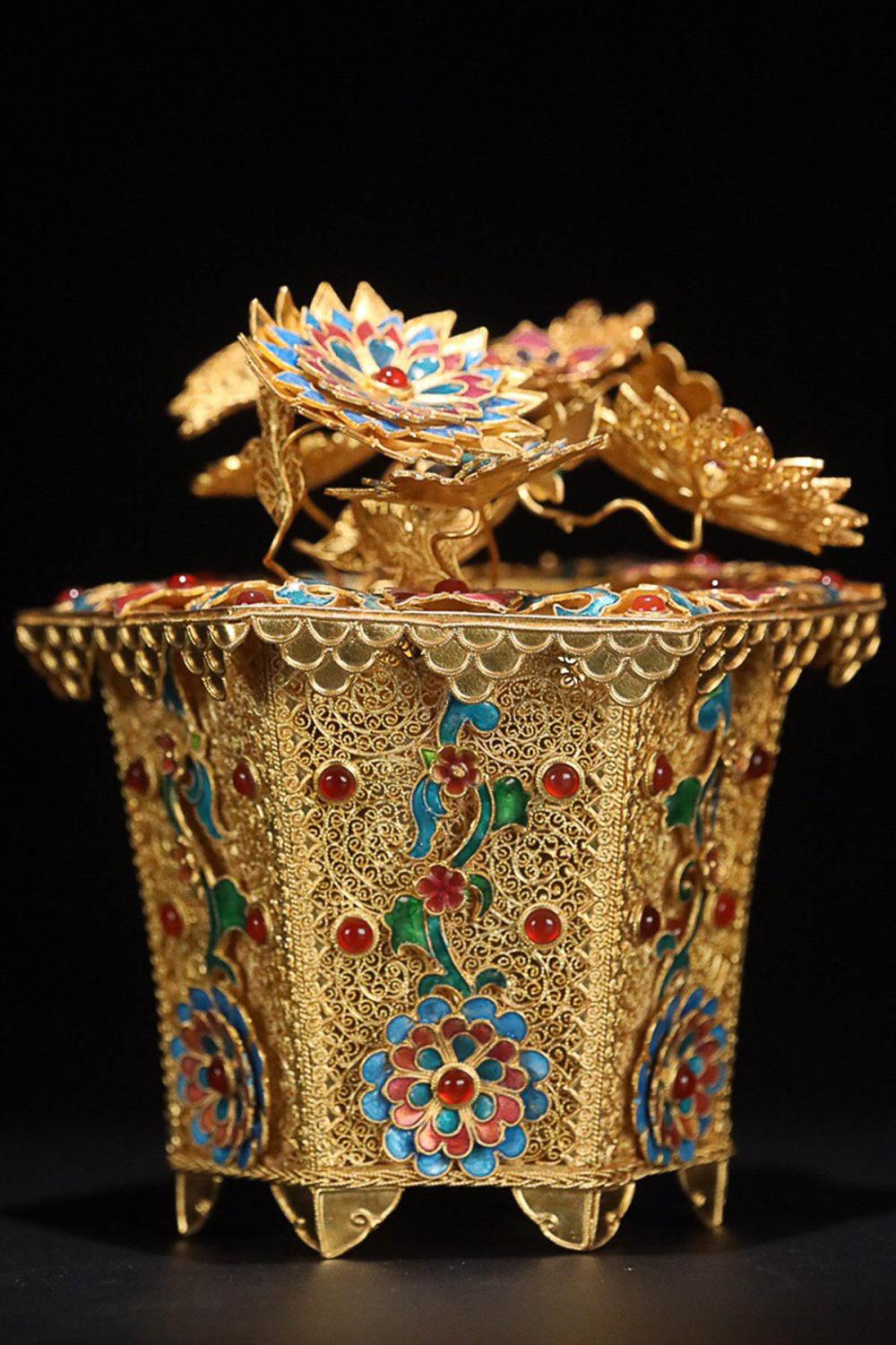 A FLORAL DESIGN GILT SILVER ENAMEL BONSAI