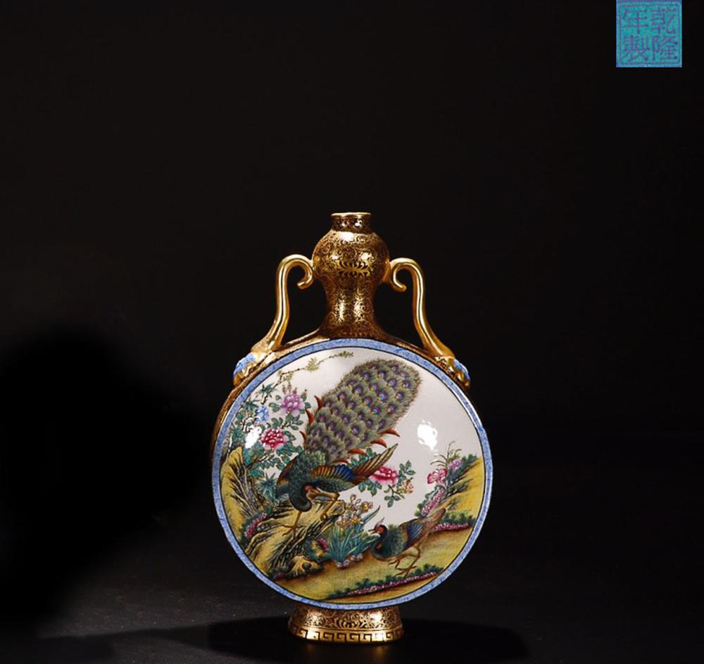 A QIANLONG MARK FAMILLE ROSE  AUSPICIOUS  PAINTED GOLD  EDGE DOBLE EAR   VASE