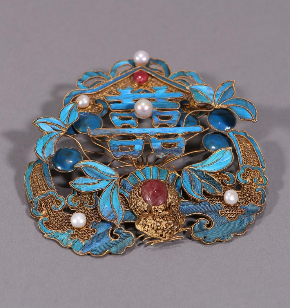 GILT SILVER&TIAN-TSUI WITH PEARL&GEM HAIRPIN