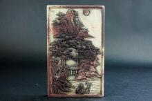 """A """"FEI DAN XU"""" MARK INK SLAB CARVED WITH SCENERY"""