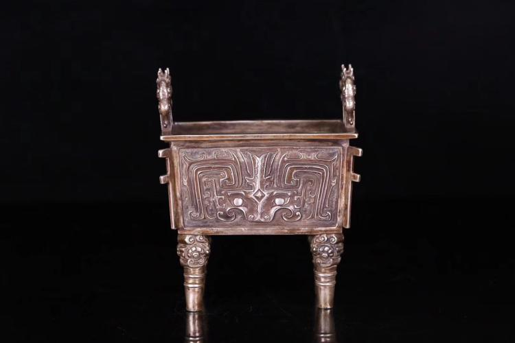 A QING DYNASTY SILVER CENSER WITH