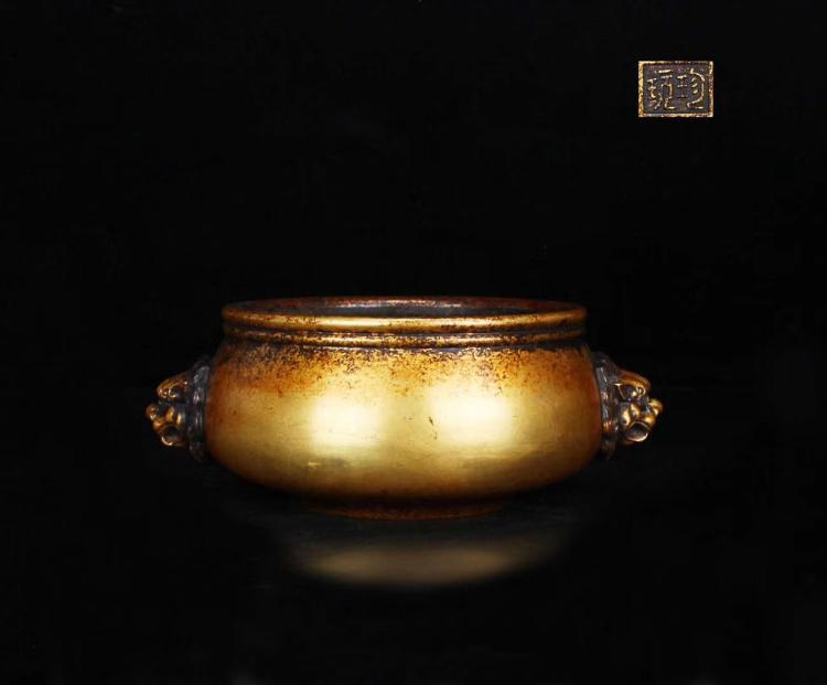 A COPPER GILT RELIEVO CENSER MING DYNASTY
