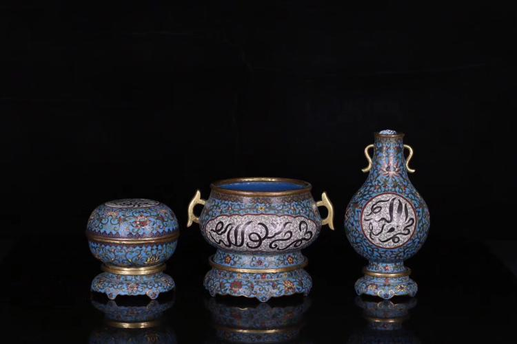 A SET OF QING DYNASTY BRONZE WIRE INLAY COLOUR ENAMELS CENSER