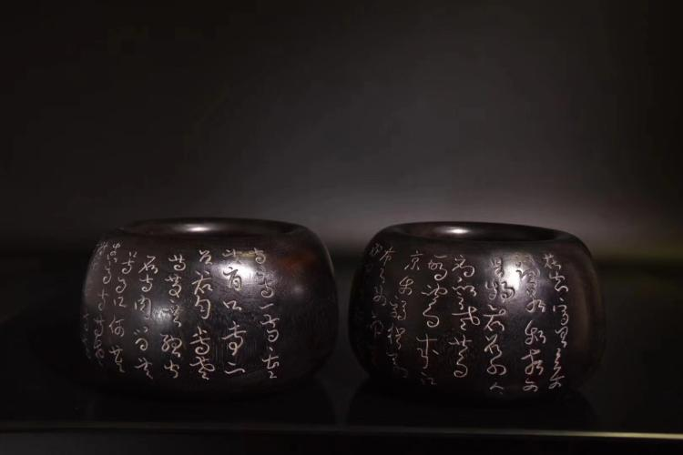 A PAIR OF CHUANG HUI PERIOD ROSEWOOD TEA CANISTER