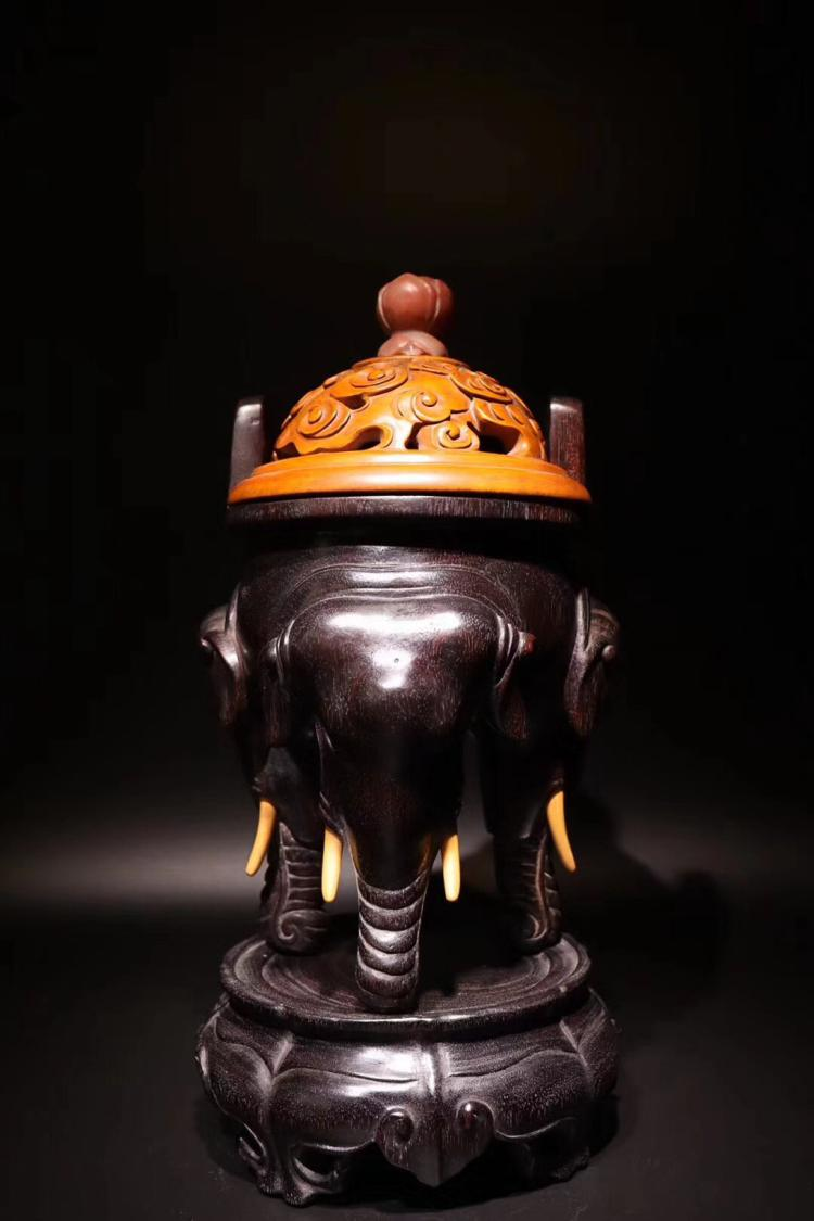 A ROSEWOOD TRIPLE FEET CENSER LATE QING DYNASTY WITH CAP