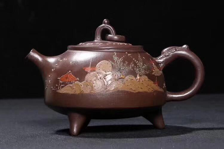 A ZHOUGUIZHEN MARK OLD PURPLE CLAY TEAPOT, THE CULTURAL REVOLUTION