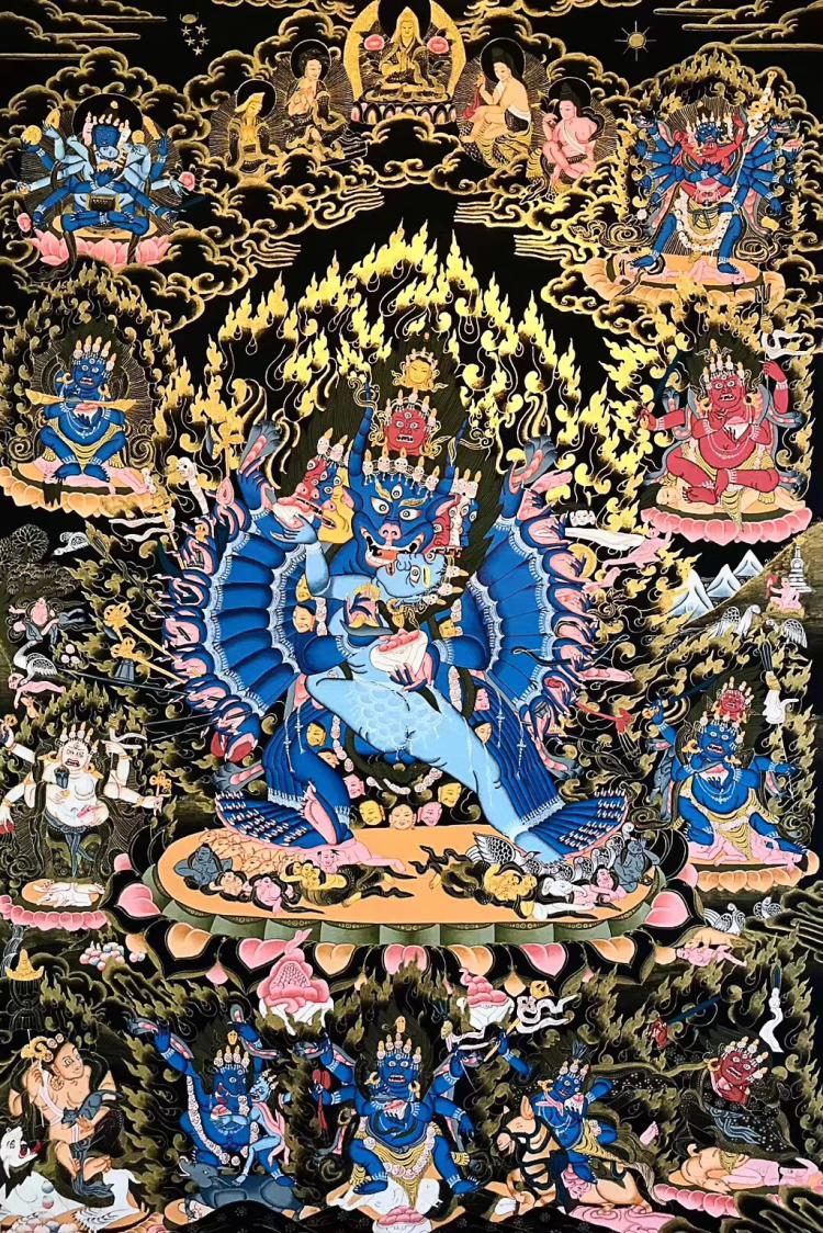 A BLACK GOLD THANGKA YAMANTAKA
