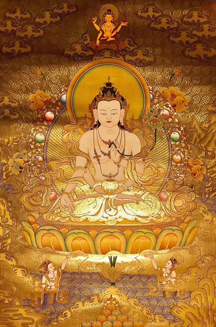 A GOLDEN THANGKA BUDDHA