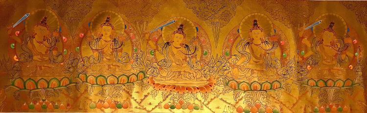 A GOLDEN TANGKA FIVE FORMS OF WENSHU BUDDHA