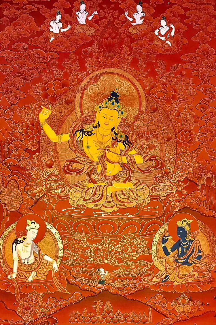 A RED GOLD TANGKA WENSHU BUDDHA
