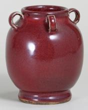 Red Glazed Jar with Four Handles