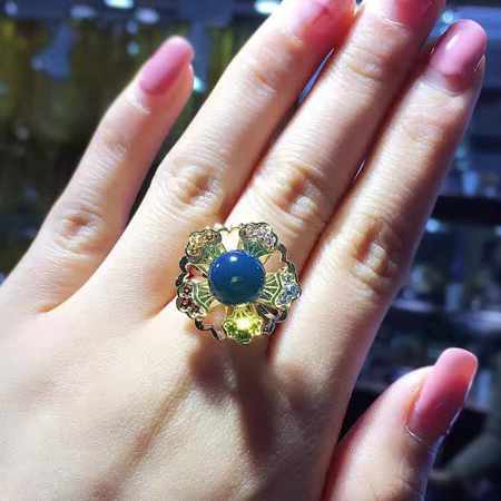 MEXICAN BLUE AMBER RING