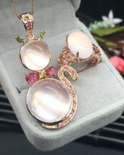 SET OF PINK CRYSTAL JEWELRY