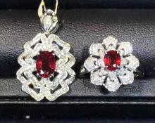 PIGEONS-BLOOD COLOR RUBY RING AND PENDANT