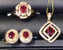 SET OF PIGEONS-BLOOD COLOR RUBY RING, EARRING & PENDANT