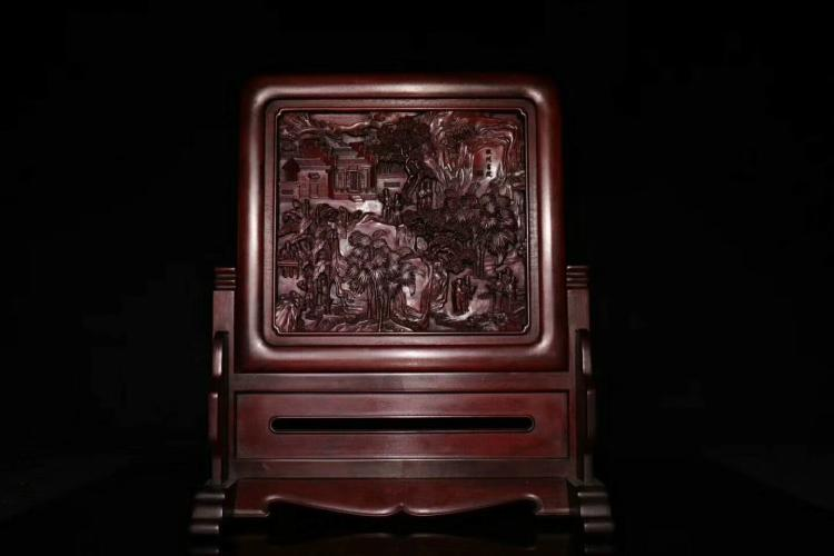 A RED SANDALWOOD TABLE SCREEN