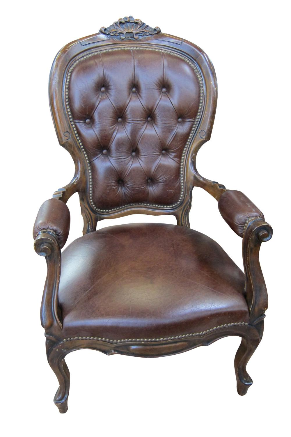Brown leather armchairs