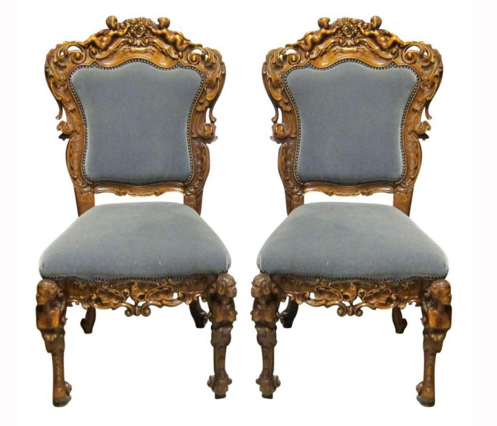 Pair of Italian tall-back chairs