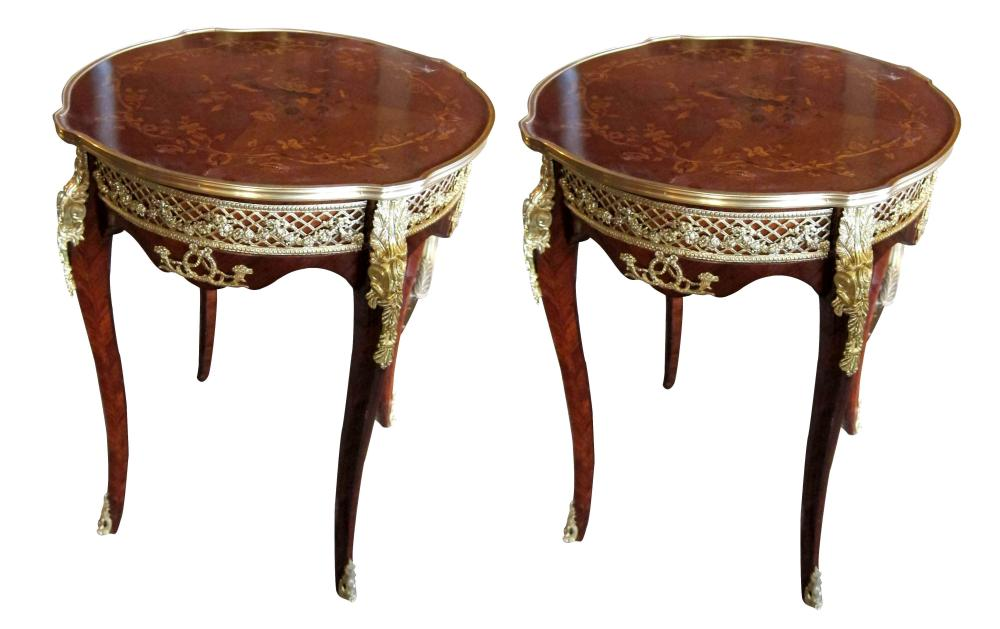 Louis XVI-style inlaid side tables