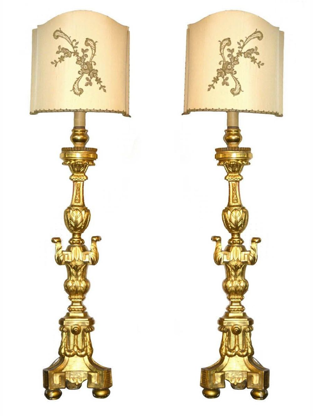 Pair of antique giltwood table lamps