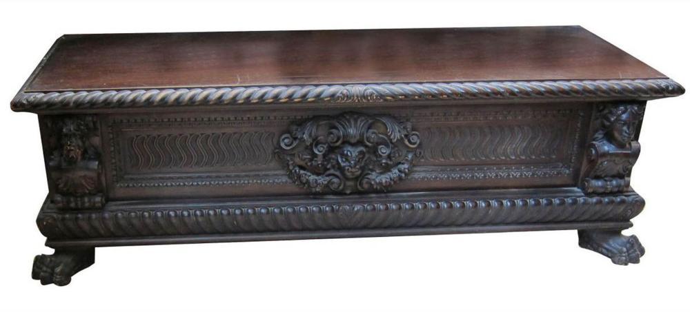 Antique walnut lift top storage chest