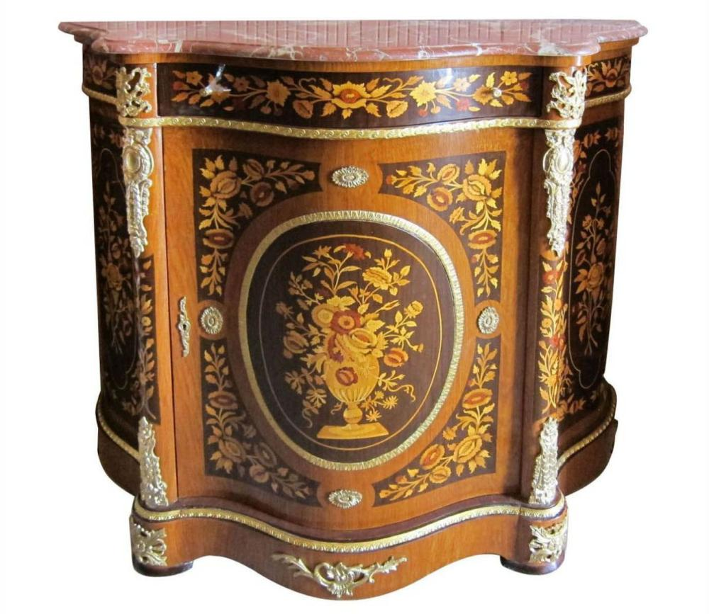 Marble-top inlaid commode