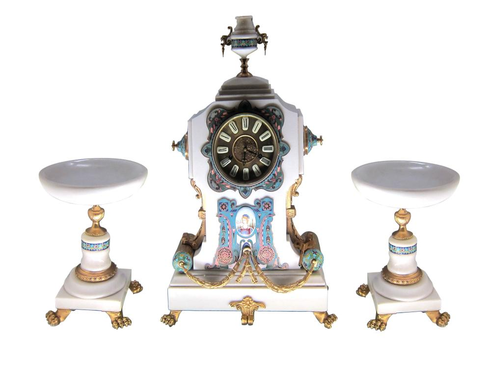Fine Louis XV-style 3-piece clockset