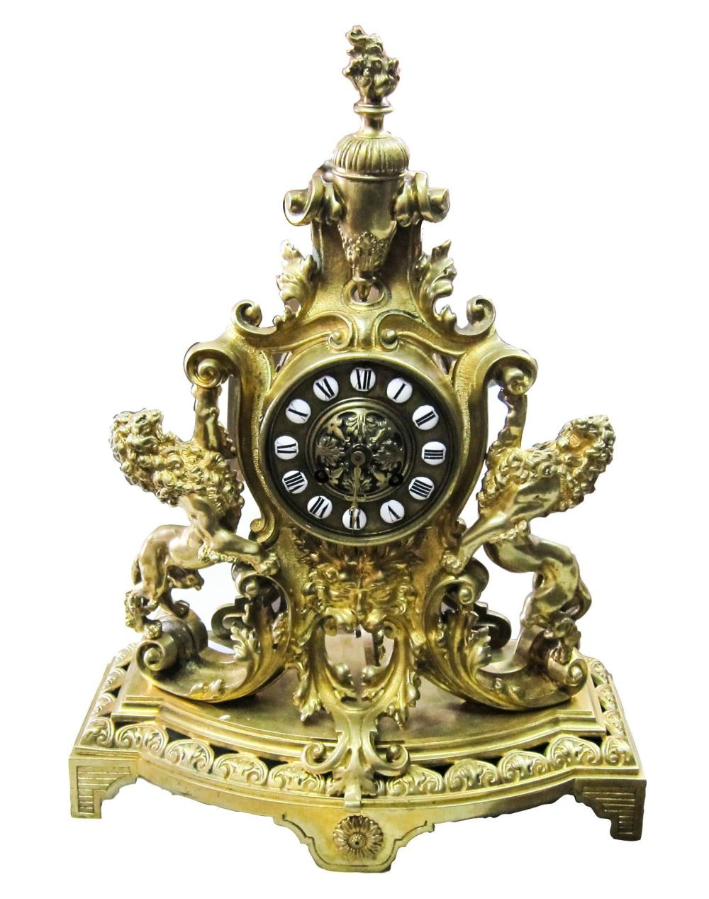 Gilt bronze mantel clock