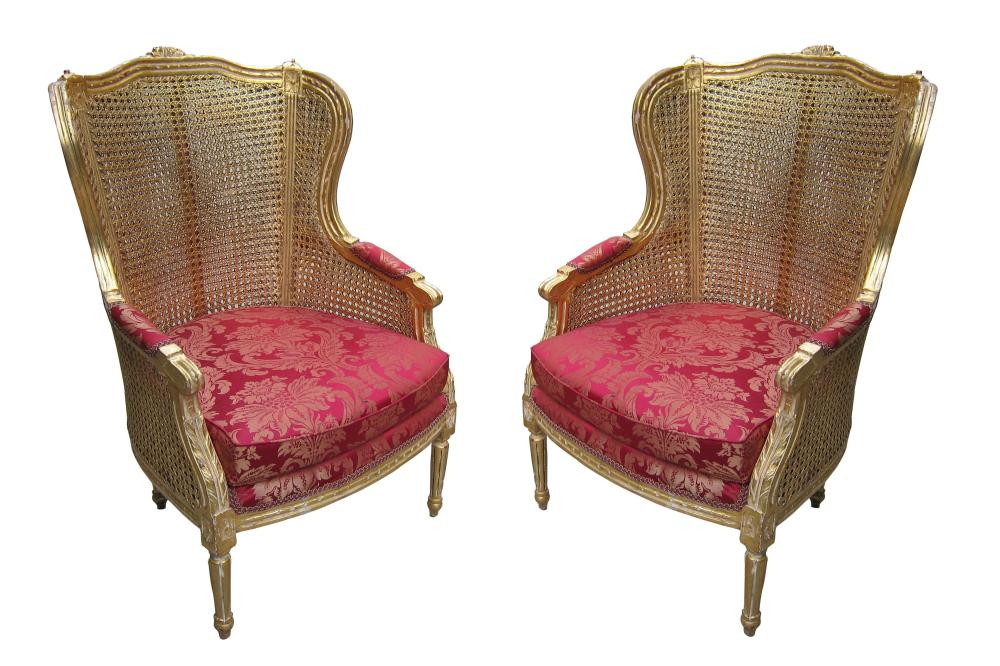 Pair of vintage French wing chairs