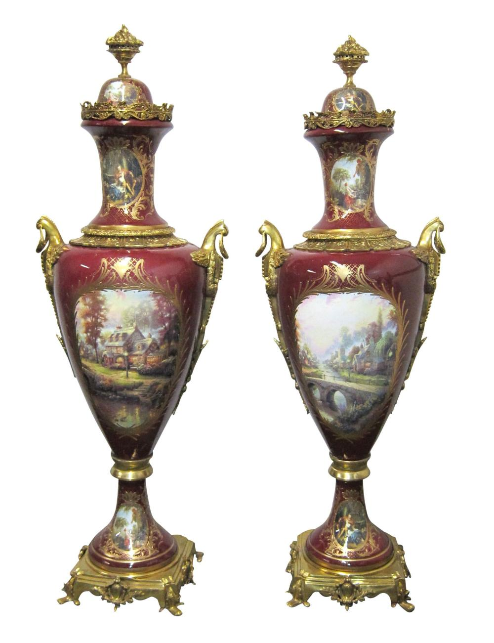 Pair of red urns