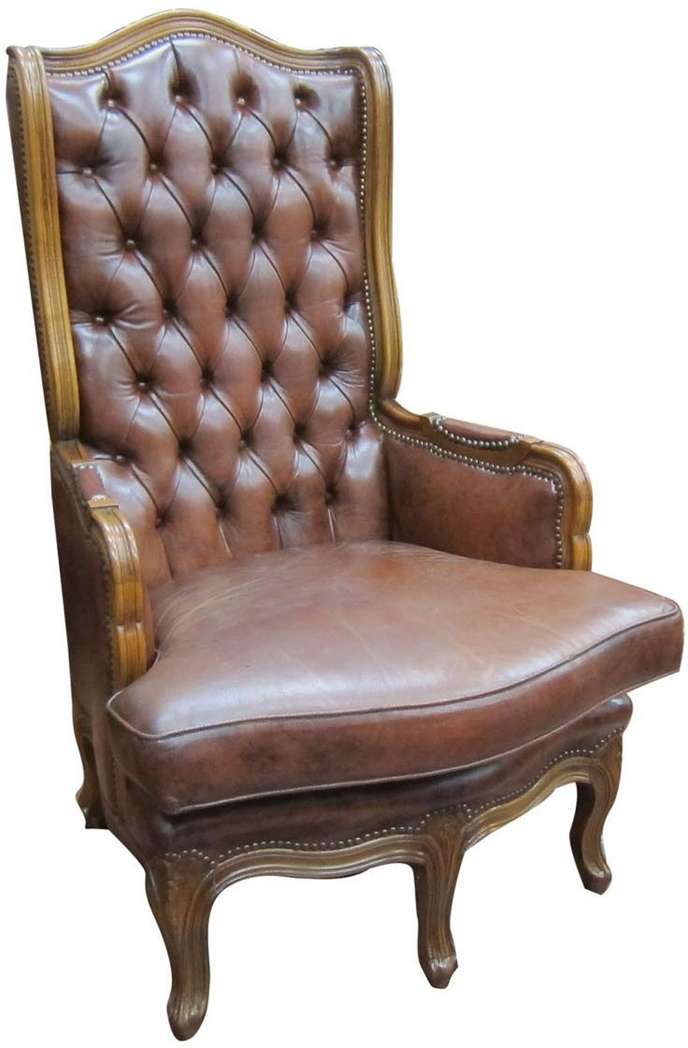 Vintage English brown leather armchair