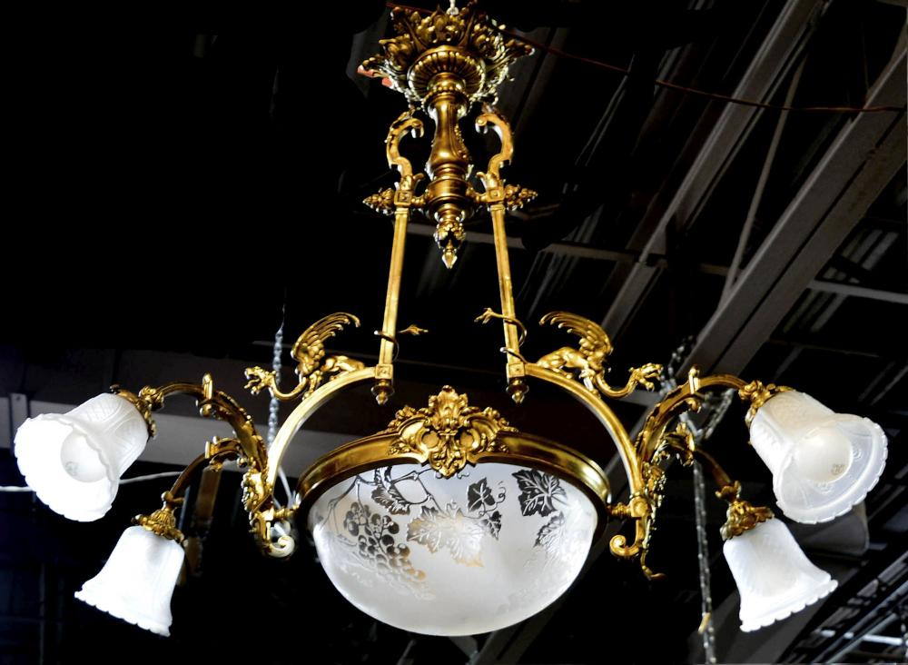 5-light gilt bronze hanging fixture